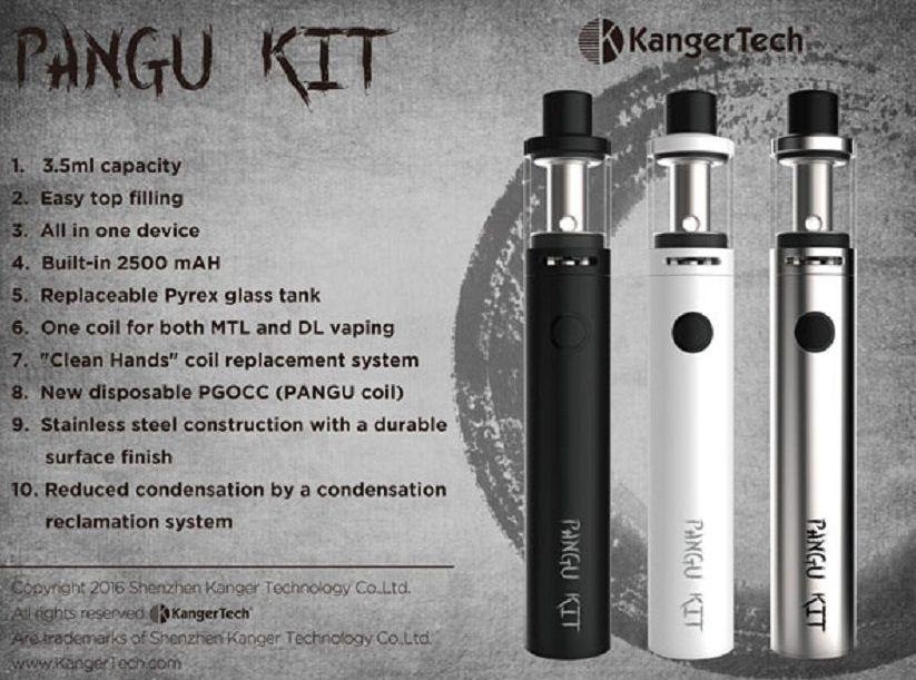 100% Authentic Kanger Pangu Starter Kit Kangertech 2500mAh Battery Mod 3.5ml Top Filling Adjustable Juice Flow Control Tank subvod mega kit