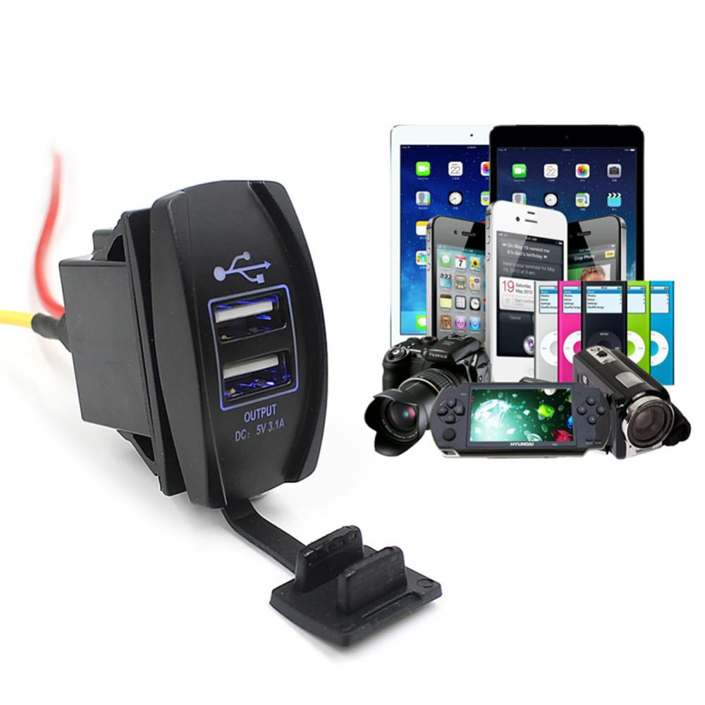 Dual USB Car Charger 3.1A Dual USB Socket Car Adapter Power with LED light for Mobile Phone