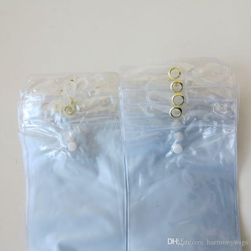 الشعر التمديد حزمة أكياس البلاستيك PVC أكياس التعبئة مع Pothhook 12-26inch لتعبئة الشعر لحمات الشعر الشريط زر الإغلاق