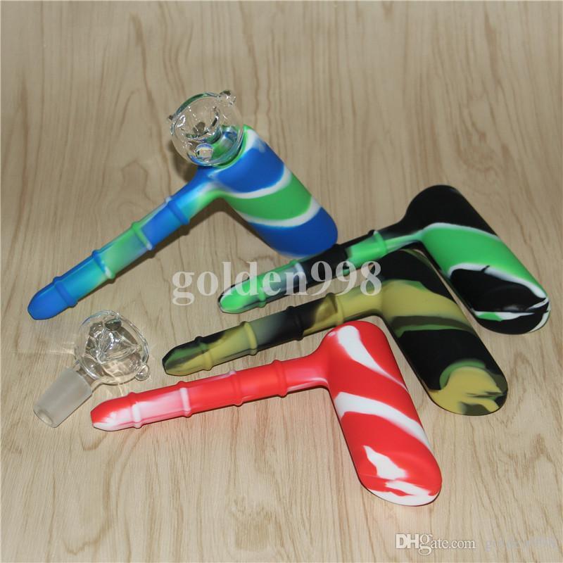 Usine Silicone Hammer Bubbler 6 trous diffusée en aval de la pipe à eau matrice de fumer pipes pipes à tabac bongs pomme de douche perc deux fonctions