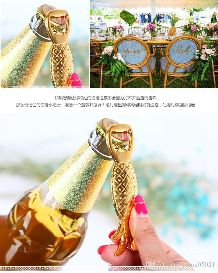 2016 Le plus récent faveur de mariage Golden Ananas Décapsuleur Vin faveurs de mariage pour les hommes Souvenir de mariage pour les invités