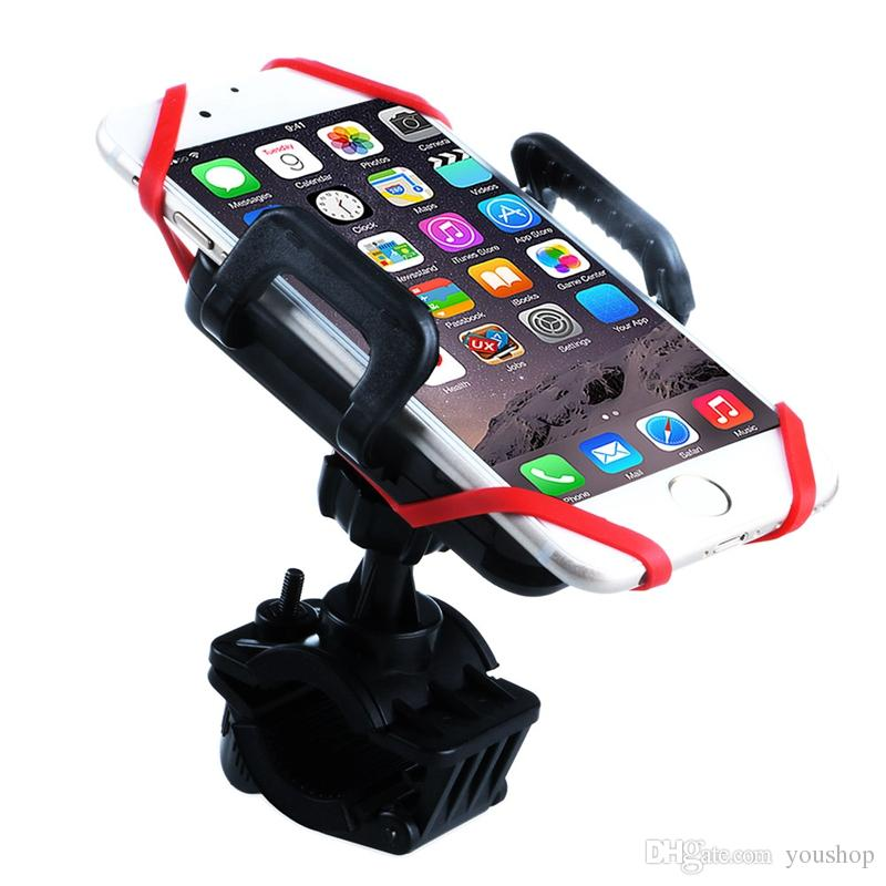Mobile Phone Holder Bike Handlebar Mount with Silicon Tie bike Strap for iphone 7 / 7 plus / 6s for Samsung Smartphone