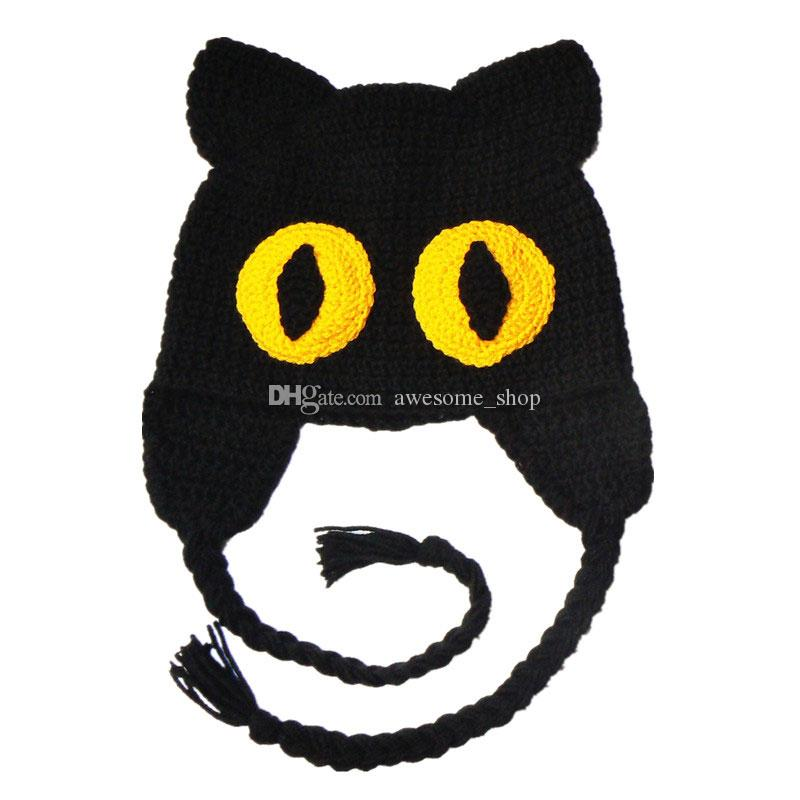 Crochet Scary Cat Hat,Handmade Knit Crochet Baby Boy Girl Kitty Hat,Kids Halloween Costume,Children Winter Cap,Infant Toddler Photo Prop
