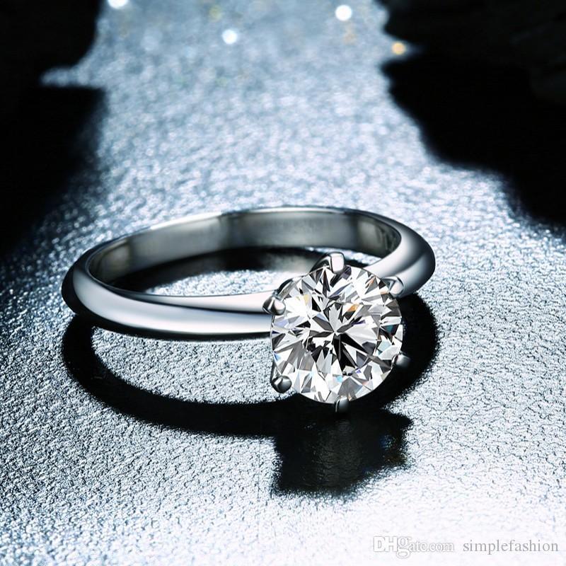 Vecalon 2016 موضة جديدة خاتم الزواج للنساء 2ct مقلد الماس تشيكوسلوفاكيا 925 فضة أنثى الاشتباك الفرقة البنصر
