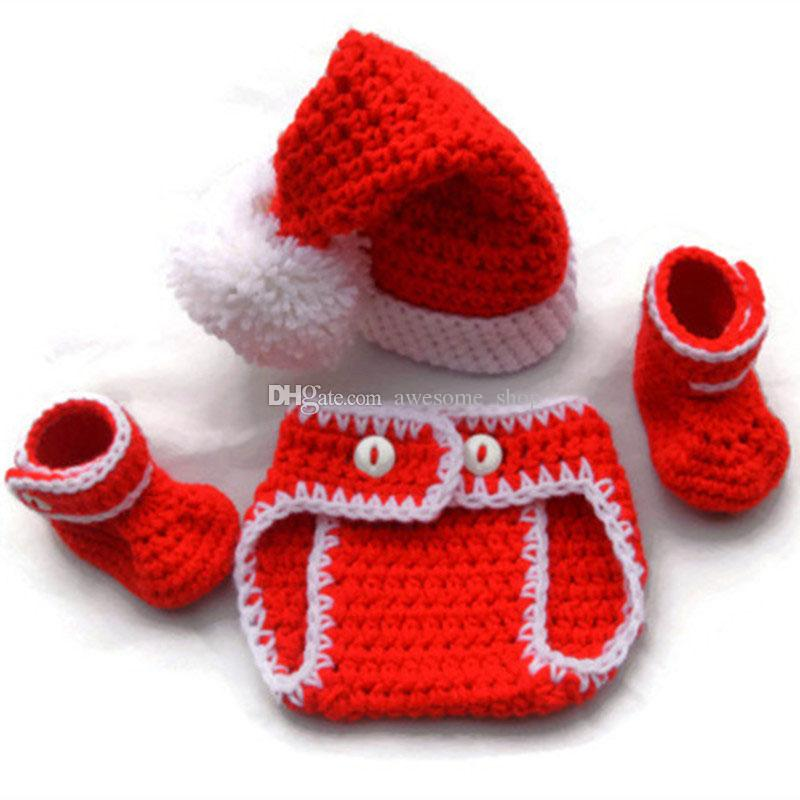 Crochet Baby Santa Set,Handmade Knit Baby Boy Girl Christmas Outfit,Santa Hat Shorts Booties Set,Infant Newborn Photo Prop,Baby Shower Gift
