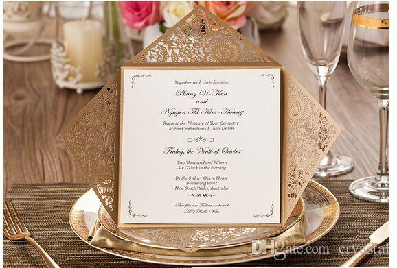 Elegant Wedding Invitations Cards With Hollow Out Rustic Laser Cut Invatation Card Flowers Elegant Party Invites Customized Printing 25th Wedding