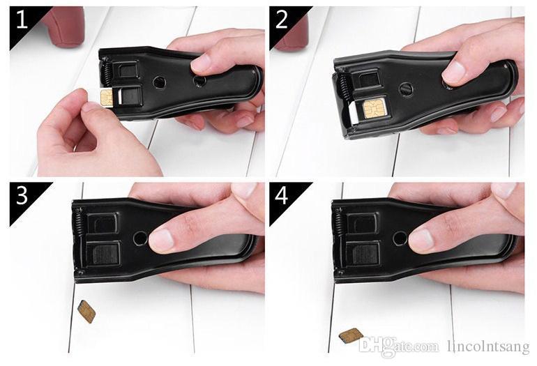 Comercio al por mayor 200 UNIDS / LOTE Universal Doble Dual 2 en 1 Cortador Nano Tarjeta SIM Micro Cortador para iPhone5 6 Para Nokia Para Samsung Teléfono Celular