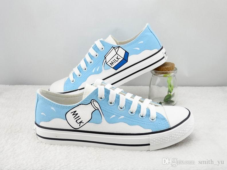 Hand-painted Canvas Cartoon Shoes Unisex Milk Graffiti Handpainted Shoes Blue Low Sneakers Lace-up Shoes Cheap Sale