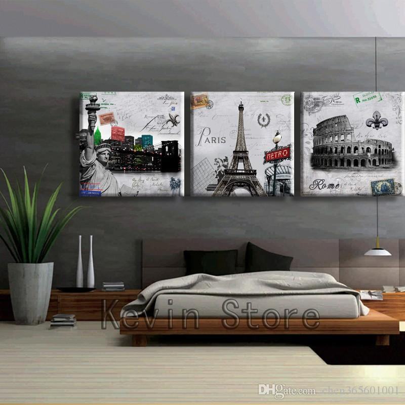 3 Piece Free Shipping Hot Sell Modern Wall Painting Paris Roman Landscape Home Decorative Art Picture Paint On Canvas Prints