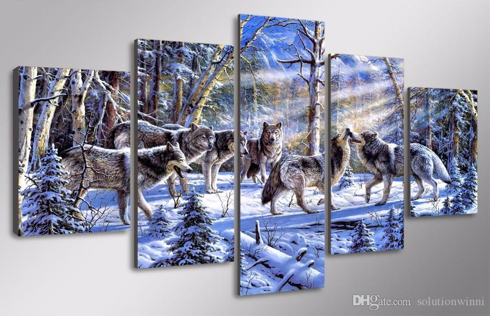 HD Printed The wolves in the snow Painting Canvas Print room decor print poster picture contemporary canvas paintings