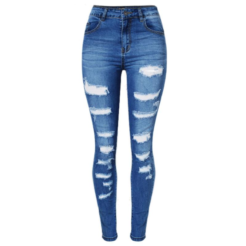 1aebfd500f 2019 2017 Spring Hole Hollow Out Ripped Jeans Women High Waist Cotton Push  Up Skinny Jeans Femme Sexy Blue Plus Size Trousers Mujer From Mini2016, ...