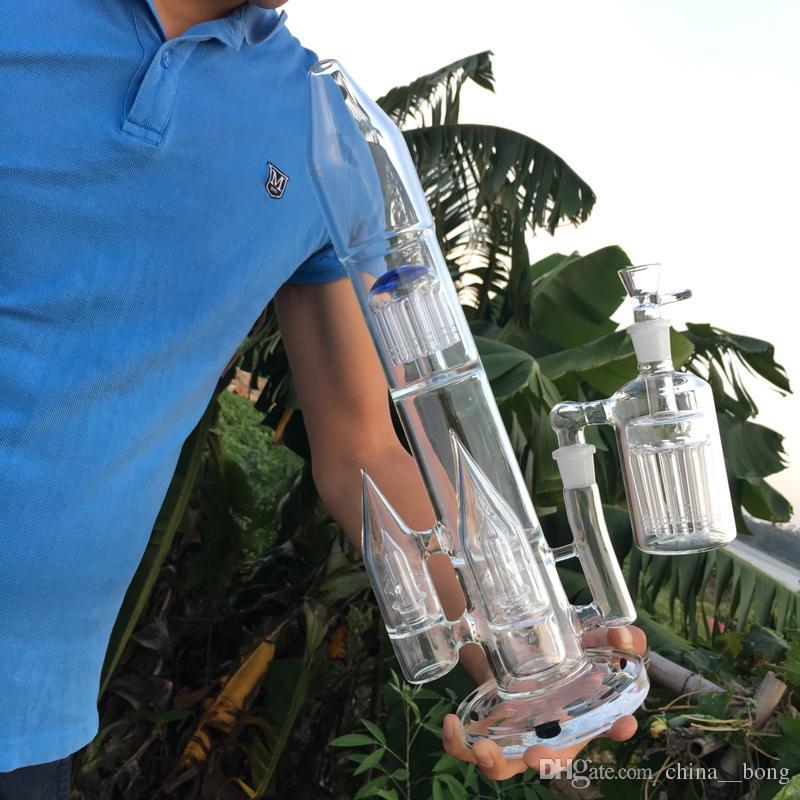 Rocket Bongs gran aparejo de vidrio bong dab con tres jaulas de pájaros perc y 12 arcos de vidrio de brazo de árbol pipas de agua para plataformas petroleras