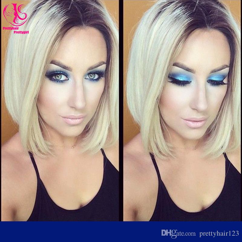 Hot! Natural Look Short Straight Blonde Ombre Dark Roots