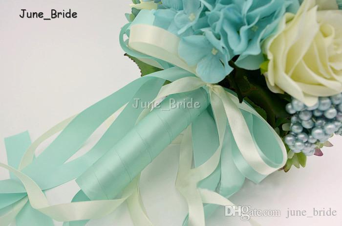 Azul crema Marfil Rosa Boda Ramo de novia Banquete de fiesta Artificial Falso Novia Dama de honor Muñeca Flor Novio Bestman Ramillete Flor en el ojal