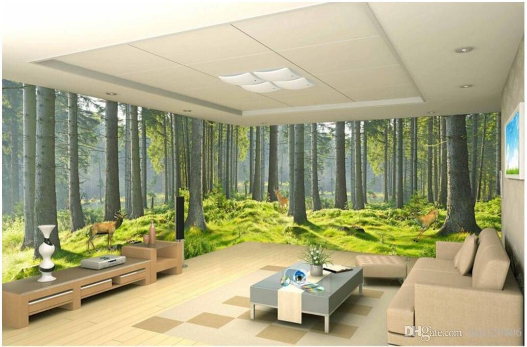 3d Room Wallpaper Custom Photo Mural Fresh Green Forest
