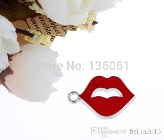 Ustalenia biżuterii Urok Wisiorki Wargi Silver Tone Enamel Red 25.0mm x 17.0mm, 40 sztuk