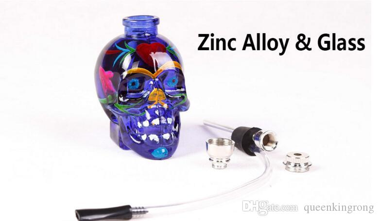 Full Colored skull Glass Bongs Water Pipe Percolator Hookah Smoking Tobacco Pipes Filter Punk Ghost Head Skeleton Shaped Oil Rigs