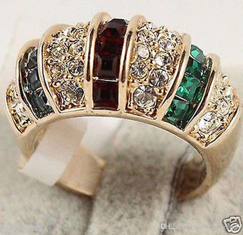 Moda jóias tamanho do cristal das mulheres dos homens anel 7-10