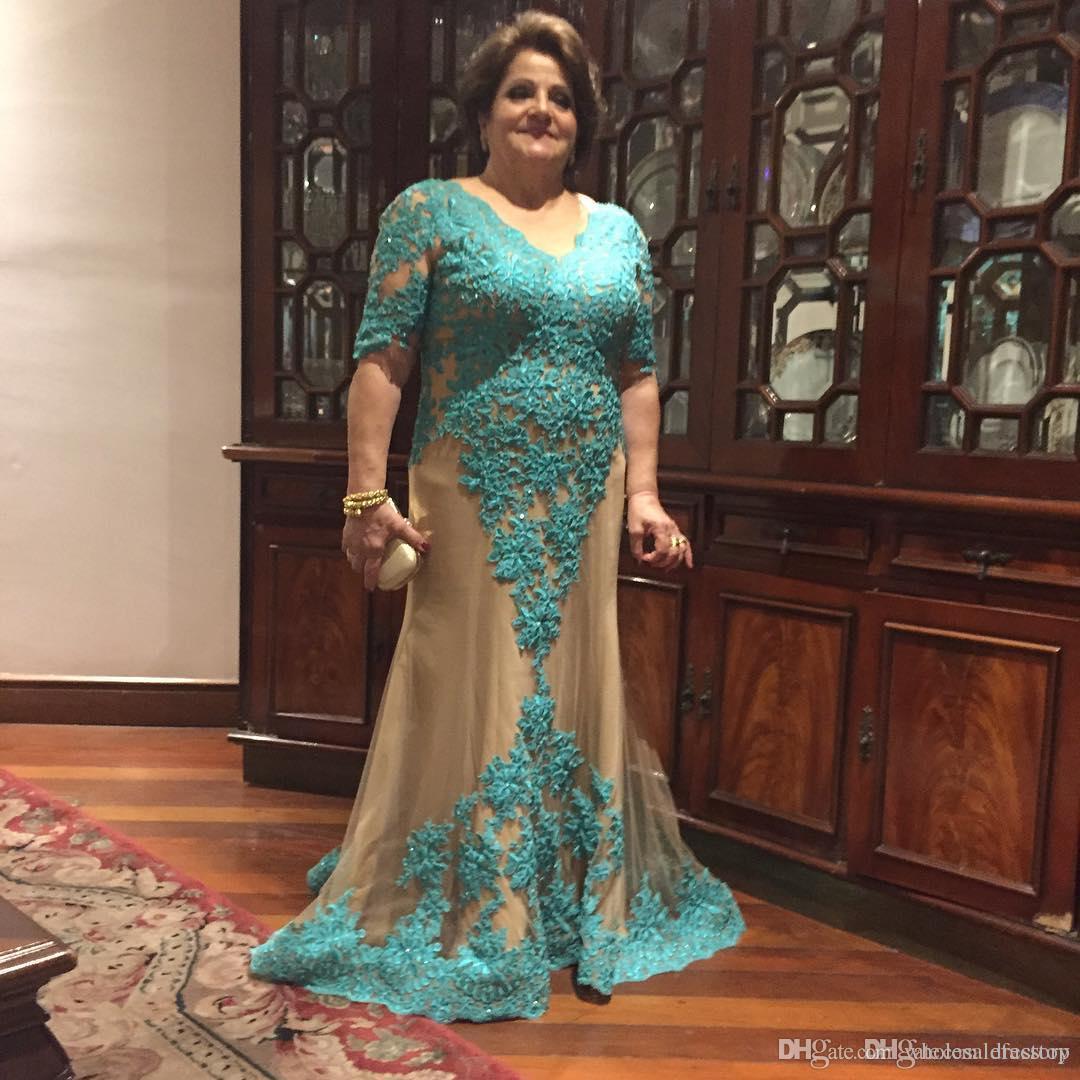 Encantador Tallas grandes Madre de los vestidos de la novia con media manga de sirena Longitud del piso Vestido formal para la boda Madre GOBOWS