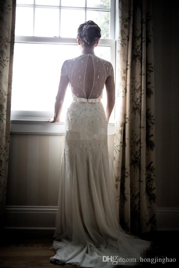Jenny Packham 2019 fildişi dantel Vintage kılıf gelinlik kat uzunluk v boyun kısa kollu gelin törenlerinde
