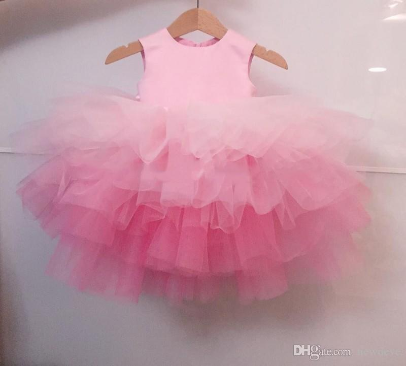 Cheap Simple Design Tulle Flower Girl Dresses Ball Gown Girls Pageant Dress Blush Formal Gowns For Beach Weddings