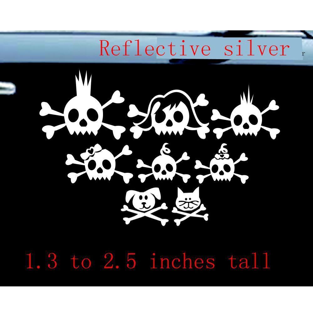 2019 skull family car decal sticker 8 skulls reflective funny goodlooking car decal vinyl sticker wall funny stickers reflective silver from mysticker