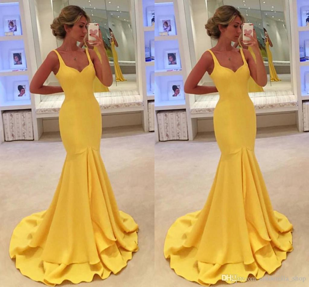 ab14a0a19234b Modest Saudi Arabic Yellow Evening Gowns Spaghetti Sweep Train Low Back  Prom Dresses Custom Made Sheath African Dresses Simple Design