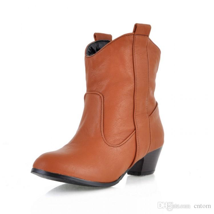 Boots PU Women Shoes boot 33 44 40 41 43 small yards high heel 4.5CM Thick heel EUR Size 32-45