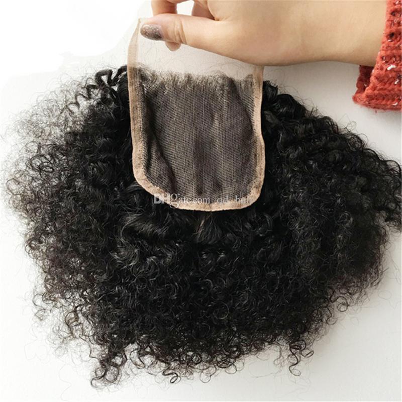 Mongólio 9a Afro Kinky Curly Human Weaves com fecho de renda 4 pçs / lote Kinky Curly Lace Fechamento com extensões de cabelo para mulher negra