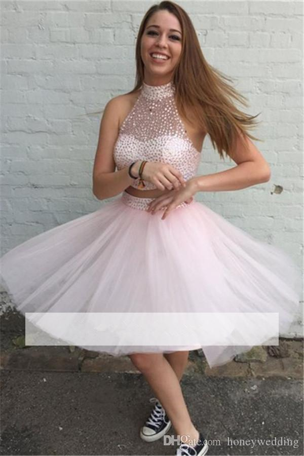 a1f23fa70a64 2017 Light Pink Two Piece Short Homecoming Dresses High Neck Beaded Junior 8th  Grade Graduation Party Prom Dresses Cheap 2016 Modest Homecoming Dress One  ...