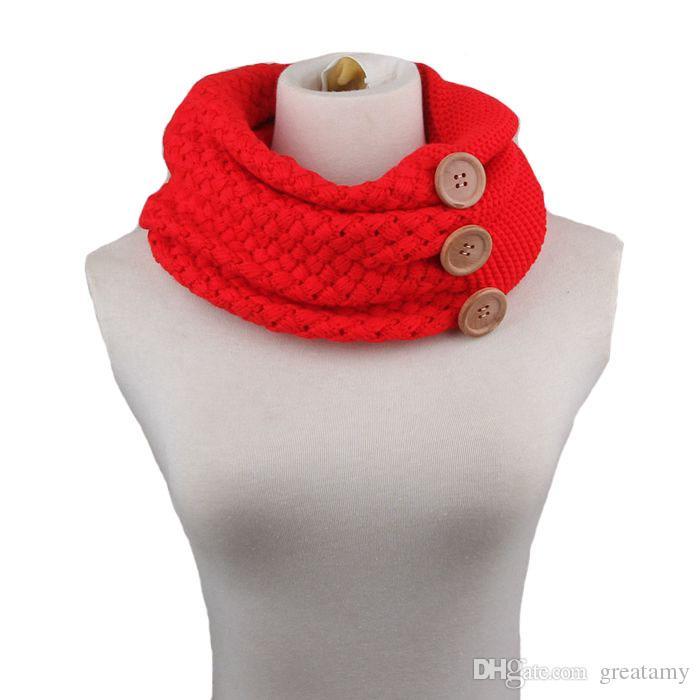 PrettyBaby women neckerchief knitted button scarf winter neck gaiter winter knitting scarf wrap fashion knit warm ring scarf