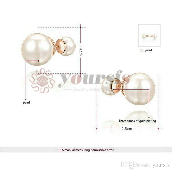 Yoursfs eleganter Art-Doppelt-großer Perlenohrring-Gebrauch 18 K-Gold überzogene saubere Perlen-Ohrringe für Hochzeits-Statement-Art- und Weiseschmucksachen der Frauen