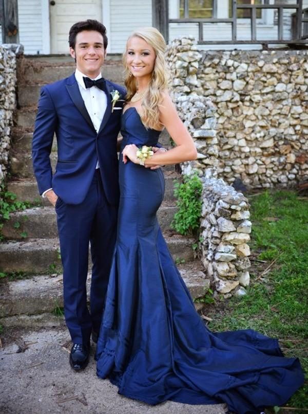 2018 Marineblau Ballkleider Schatz Maßgeschneiderte Sweep zug Lange Meerjungfrau Formelle Party Abendkleider Vestidos De Festa