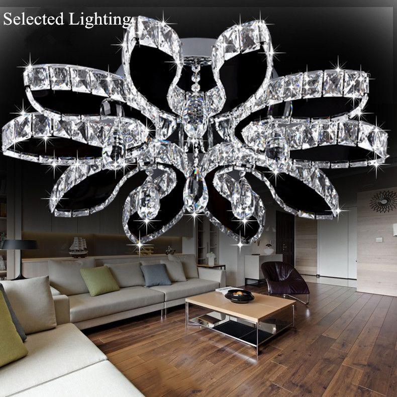 2018 Luxury Modern Chandelier Led Circle Ceiling Lights For Living Room Cristal Re Lighting Sliver 220v From Selectedlighting