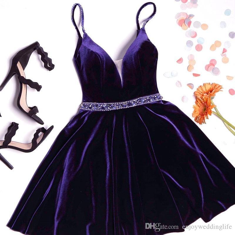 Elegant Velvet Purple Knee Length Short Homecoming Dresses 2017 Straps Spaghetti Deep V Neck Cocktail Party Gowns Graduation Wear BA7062