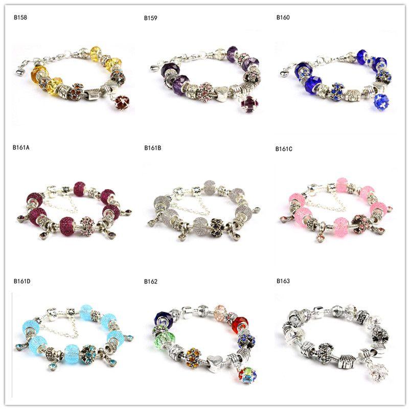 Lettering coroa tibetano vidro prata grânulos de charme Pulseira, mulheres alto grau de DIY Beads europeus pulseira 6 peças de um GTPDB17 muito estilo misto