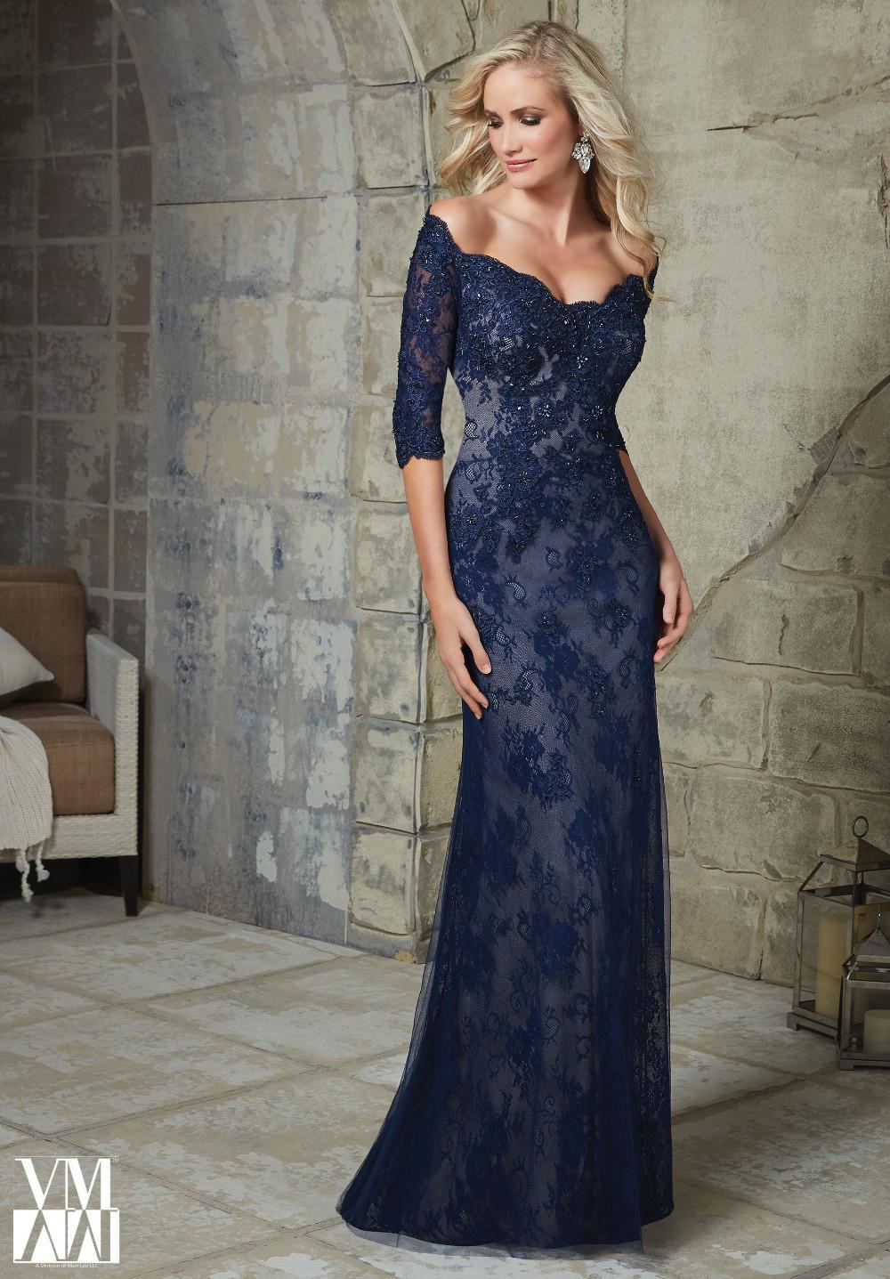 Elegant Plus Size Half Sleeve Plum Lace Mother of the Bride Dresses 2018 for Weddings appliques beading Mermaid Evening Dress