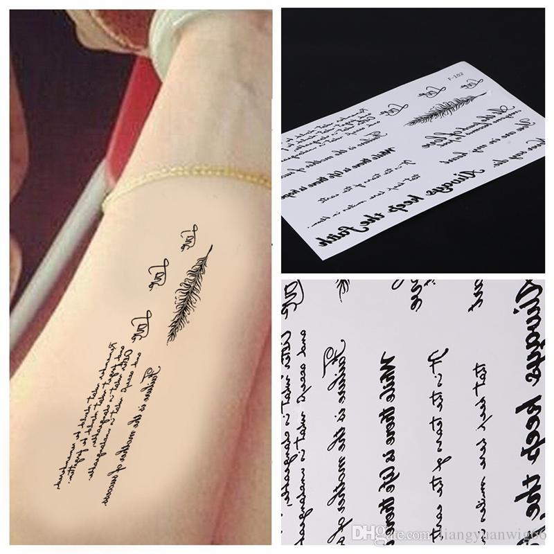 هيئة الذراع الأسود ريشة الكلمات المؤقتة الوشم ملصق رسالة الفن للماء الوشم لصق إزالة الوشم