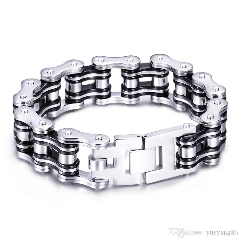 2016 Newest Stainless Steel Biker Motorcycle chain Gothic Mens Father's Day Gift Bracelet Silver Black Huge Heavy Fine Gift