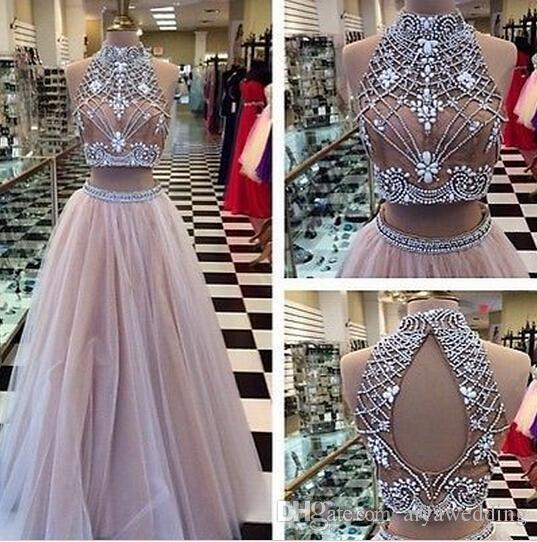 2019 Sexy Two Pieces Prom Dresses High Neck Beaded Top Champagne Tulle Floor Length Formal Party Dresses Evening Gowns