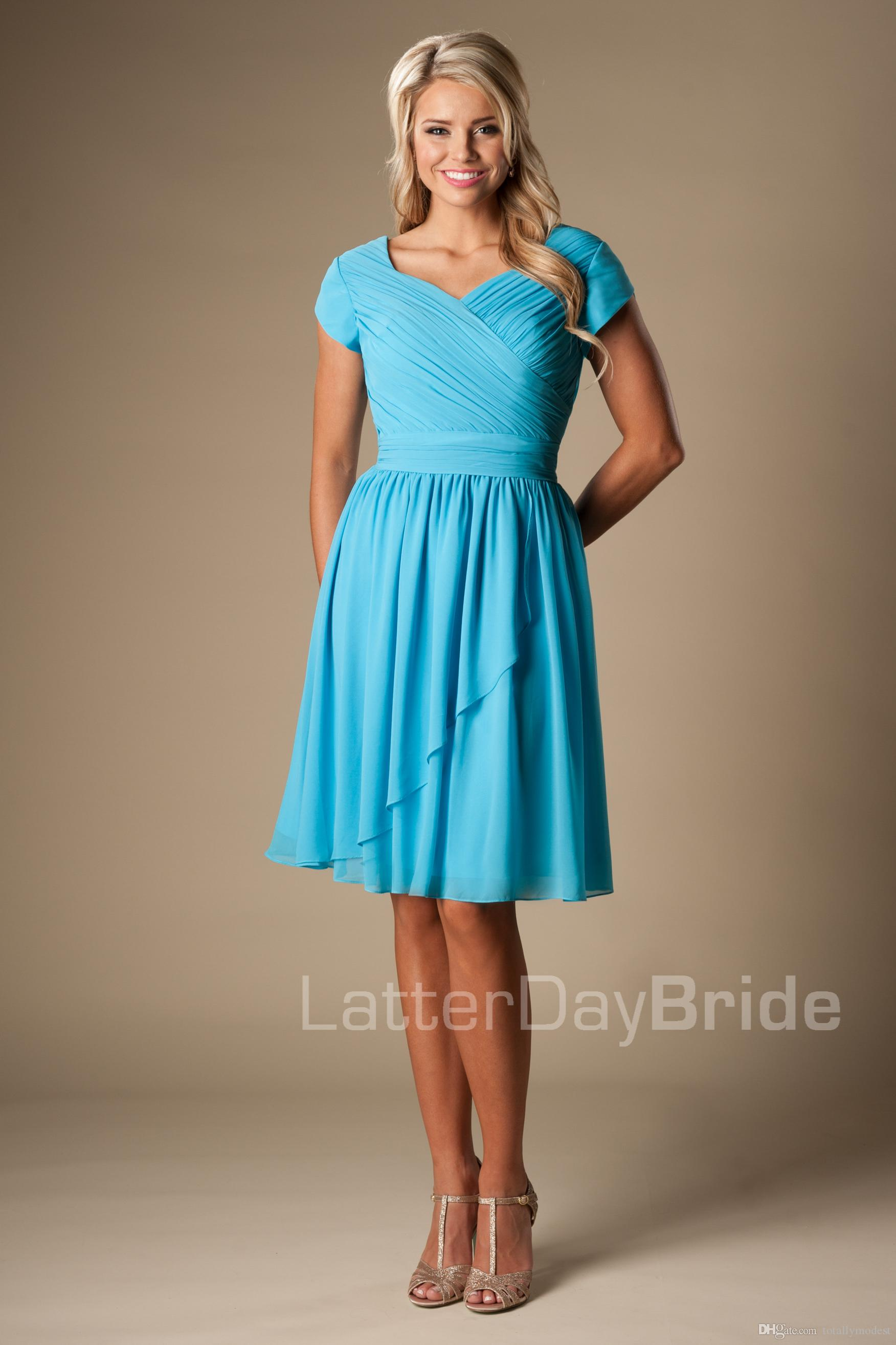 Summer blue short modest bridesmaid dresses with short sleeves summer blue short modest bridesmaid dresses with short sleeves chiffon beach maids of honor dresses a line knee length wedding party dresses dusty rose ombrellifo Gallery