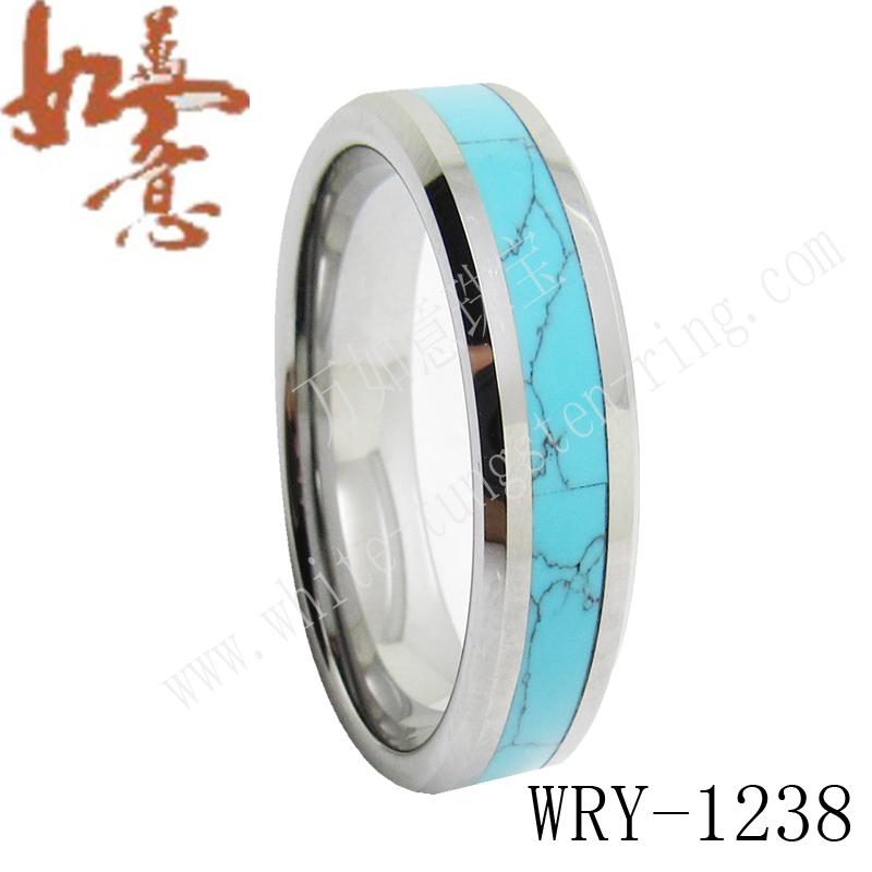 Turquoise Inlay Tungsten Wedding Bands Rings Jewelry For Women Wry