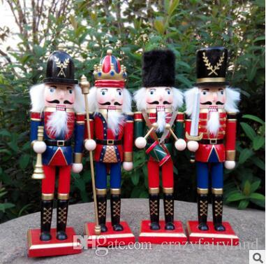 30cm wooden christmas nutcracker soldiers puppet zakka creative desktop decoration large size christmas ornaments drawing walnuts soldier wooden nutcracker - Large Toy Soldier Christmas Decoration
