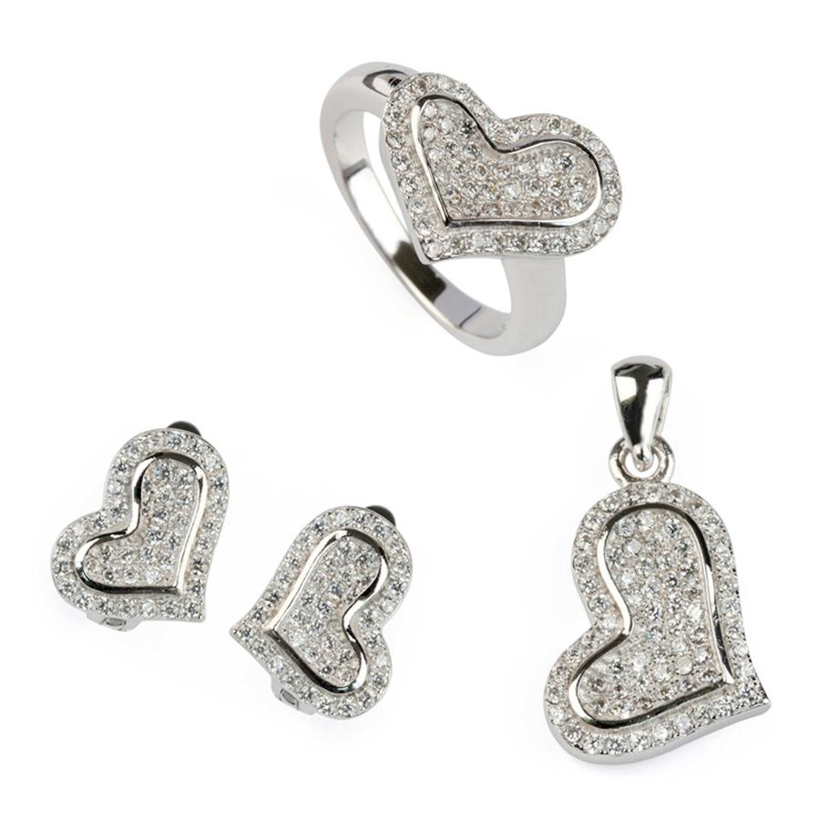 Copper Rhodium Plated Punk heart set (ring/earring/pendant) White Cubic Zirconia Noble Generous MN3158set sz#6 7 8 9 Beautiful New Arrivals