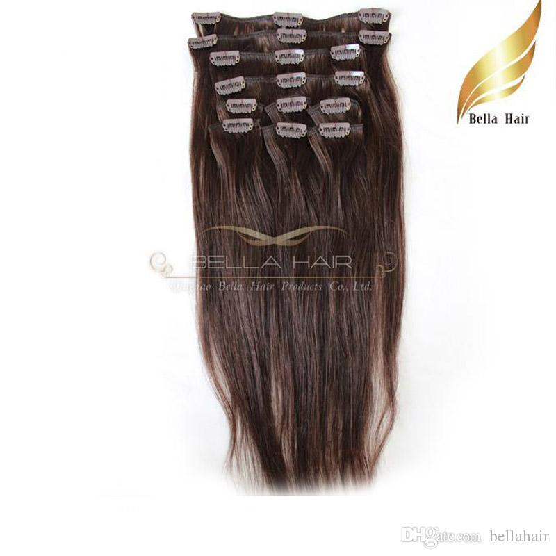 Modigt mänskligt hårklipp på hårförlängningar Naturligt jungfruligt hår # 2 färg rakt 20in 100g / set bellahair