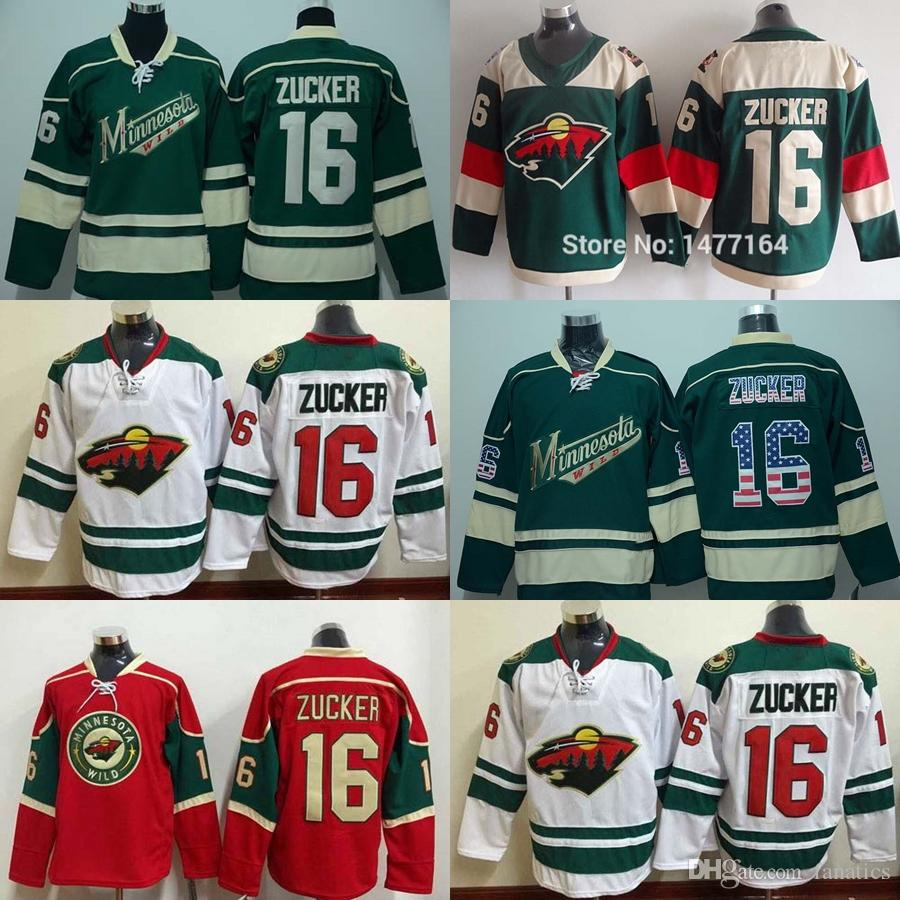 online store 72fb2 1ae1f New Brand- Wholesale Mens Minnesota Wild #16 zucker White Red Green Jersey  Ice Hockey Jerseys Best Quality,Low Price
