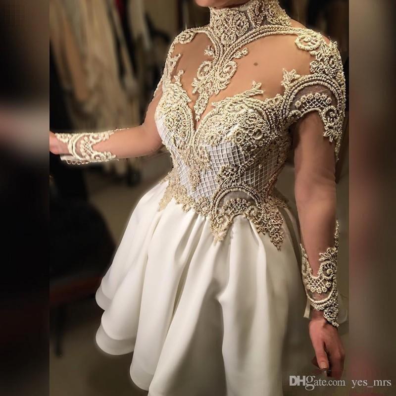 2017 Curto Árabe Vestidos de Cocktail de Alta Neck Ilusão Cristal Frisado Sheer Voltar Botão Mangas Compridas Prom Vestidos Formais Homecoming Vestidos