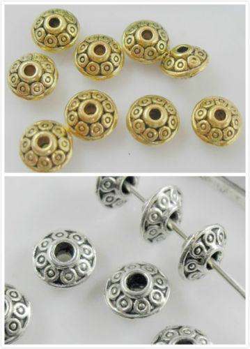 Navio livre Tibetano Prata / liga De Ouro Spacer Beads Para Fazer Jóias DIY 6x4mm