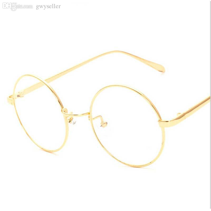 87e08fa03984 2019 Wholesale NEW Korean Retro Full Rim Gold Eyeglass Frame Nerd Thin  METAL PREPPY STYLE Vintage Spectacles Round Computer UNISEX Black Gold From  Gwyseller ...