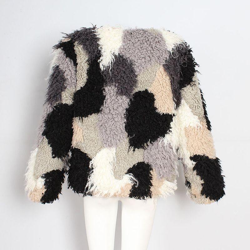Nuevo bloque de color abrigo de mezcla de lana para las mujeres de manga larga con cuello en v de piel sintética chaqueta corta niñas punk outwear otoño invierno abrigo ocasional CJG1020